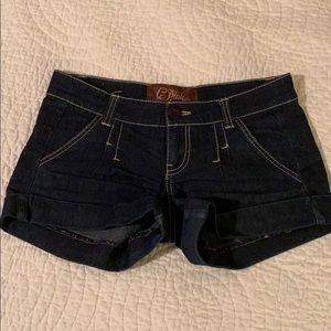 Dark jean cuffed shorts